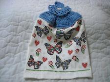 New listing Crocheted Blue Top Handmade Terrycloth Kitchen Towel W/Butterflies Design