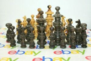 "Olive Wood Large Vintage chess set King size: 5 1/2"" x 1 1/2"" Hand Made"