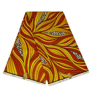 African fabric Red / yellow big leaves - wax print Ankara kitenge wax cloth