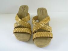 Skechers Wedge Sandals Slides Memory Foam Faux Cork Tan Weave Womens US 11 Vegan