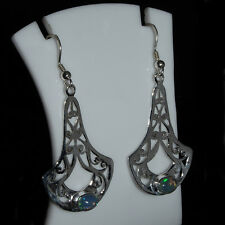 925 Sterling Silver Natural Ethiopian Fire Opal Earrings Play of Color #DDL267