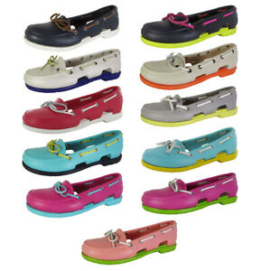 Crocs Womens Beach Line Slip On Boat Shoes