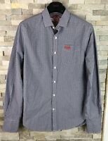 Superdry Mens Size S Blue Checked Long Sleeve Shirt