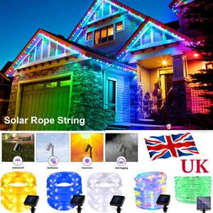 50-200LED Solar Rope Tube String Fairy Lights Strip Waterproof Outdoor Garden UK
