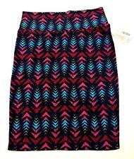 NWT LuLaRoe Cassie Pencil Stretchy Skirt L Pink Blue Black Chevron Geometric