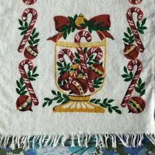Vintage Christmas Hand Towel Candy Canes & Ornaments Cute Xmas Decor Dishcloth