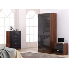 REFLECT Gloss Black / Walnut 3 Piece Bedroom Furniture Plain Set Soft Close