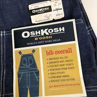 NOS VTG Osh Kosh Vestbak USA Union Made Dark Wash Denim Bib Overalls 42x31 TAGS