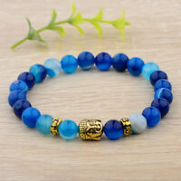 Women Men Natural Blue Agate Gemstone Beads Buddha Head Beaded Fashion Bracelets