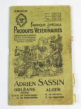 Catalogue ADRIEN SASSIN. Fabrique spéciale Produits Vétérinaires. 3° édit. 1929