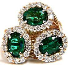 █4.02CT EMERALDS DIAMONDS CLUSTER COCKTAIL RING 18KT PARISIAN CROSSOVER TWIST