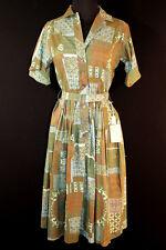 RARE 1950'S DEADSTOCK GREEN PRINT COTTON DRESS SZ 6+