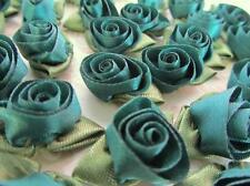 144 Satin Midnight Green Ribbon Swirl Tulip Rose Flower Leaf Trim/sewing/bow F25