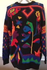 Rafaella Womens Sweater Red Black Large Ramie Cotton Funky Ugly Mario Arcade bug
