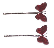 Pair of Enchanting- Translucent Russian Red Enamel Butterfly Hair Clips(Zx110)
