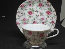 Vintage Lefton China Rose Chintz Footed Cup and Saucer Set No. 656R Hand Painted