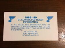 St. Louis Blues NHL Hockey 1988-89 88-89 Vtg Season Ticket Information Card
