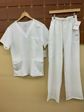 NEW Men's Jockey White Solid Scrubs Set With Small Top & Small Pants NWT