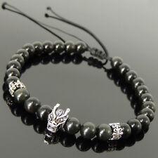 Rainbow Black Obsidian Wolf Bracelet 6mm Gemstones Sterling Silver Bead 1552