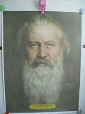 "Vtg 1976 ? Johannes Brahms 22.5"" Poster Print Music Composer Musician Piano"