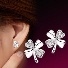 Women's Solid 925 silver Crystal Clover Ear Stud Earrings fashion jewelry Gift