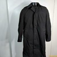 1981 Vtg  US Military ARMY Long RAINCOAT Rain Trench Coat Mens 34L S Long Black