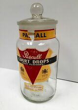 "Vintage Pascall British 10"" Candy Jar Original Labels Ground Glass Lid (G5818)"