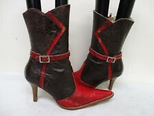 Dos De Oro Red Brown Snakeskin Leather High Heel Cowboy Boots Womens Size 25 MEX