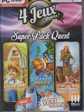 4 JEUX PC COMPLETS  SUPER PACK QUEST FARM ATLANTIC  SAFARI  YETI WINDOWS XP 7