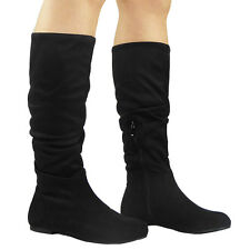 WOMENS ROUCHED RIDING FOLD OVER MID CALF BOOTS LADIES FLAT FAUX SUEDE SHOES SIZE