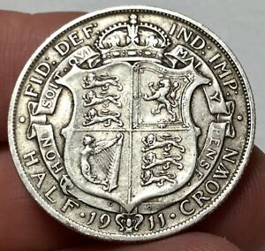 1911 KING GEORGE V SILVER HALF CROWN XF