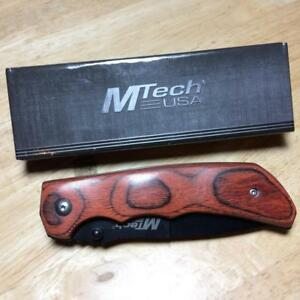 "MTech USA Tactical Brown Pakkawood Linerlock 4 1/2"" Pocket Knife MT408"