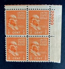US Stamps, Scott #803 1/2c Plate blk XF M/NH. 1938 Presidential Issue. Gorgeous