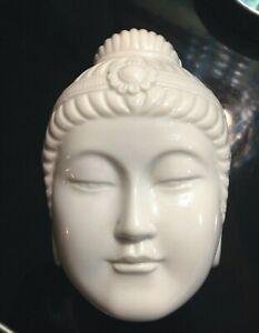 Japanese Signed Trinket Box Women Goddess Face Asian Lady White Porcelain Large