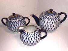 Russian Lomonosov Design Cobalt Blue Gold Net Bone Teapot, Sugar Bowl & Creamer