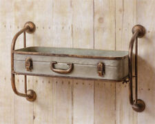 Rustic Metal Container Shelf Galvanized Metal Suitcase Style Wall Shelf
