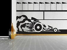 Wall Sticker Vinyl Decal Race Car Flags Trail the brakes tires (n243)