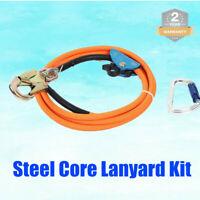 "1/2"" X 10 Feet Steel Core Lanyard Kit Swivel Snap Durable Flipline Carabiner USA"