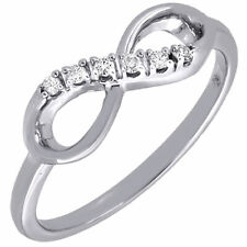 Diamond Infinity Fashion Right Hand Cocktail Ring Ladies 10K White Gold 0.05 Ct.