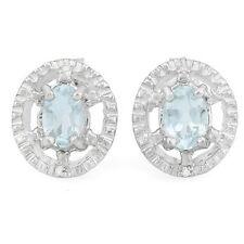 Ohrringe/Ohrstecker Rumer, 925er Silber, 0,75 Kt. echter Aquamarin/Diamant
