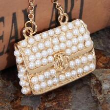 Crystal Rhinestone Purse Keychain Keyring Key Ring Chain Bag Charm Pearl Pendant