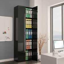 vidaXL Office Cabinet High Gloss Black 60x32x190 Cm Chipboard