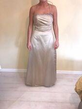 Champagne, Embellished Size 8 Evening Dress. Halterneck/Sweetheart neckline