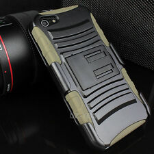 For Apple iPhone SE 5S Rugged Hybrid Armor Case Cover Belt Clip Holster w/Screen