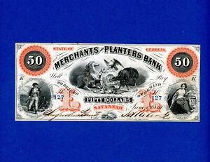 1860 $50 Merchants and Planters State of Georgia VERY RARE CRISP HIGH GRADE NOTE
