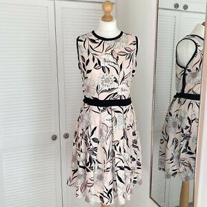 Dorothy Perkins Pink Floral Dress Size 18 Tie Waist Sleeveless Occassion Wedding