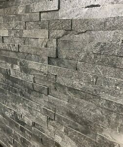 Silver Grey Split Face Natural Slate Wall Tiles Feature Walls Indoor Outdoor