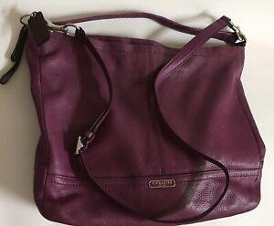 Coach Park Hobo Bag Short & Long Straps amethyst purple Large Pebbled Leather