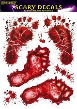 BLOODY FEET Halloween WINDOW STICKERS Red Footprints Party Prop Scary Decoration