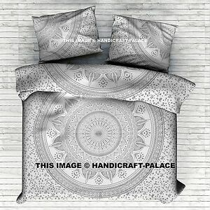Indian Silver Mandala Bed Sheet Cotton Bedding Set Boho King Size Tapestry Throw